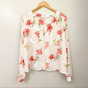 Forever 21 Polka Dot Floral Blouse Size 1X